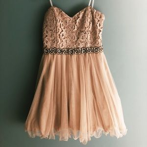 Blush strapless party dress with sparkles